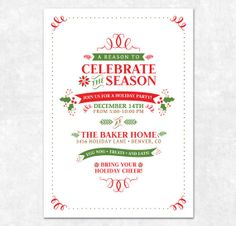 items similar to printable christmas invitation holiday party holly berries on etsy