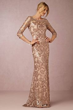 Mother of the Bride: Rose Gold Sequin Bridesmaid Dress. A blush sequin rose gold bridesmaid dress for weddings or black tie events. Wear it as a special gown to galas and holiday events. Mother Of Groom Dresses, Bride Groom Dress, Mothers Dresses, Mother Of The Bride Gowns, Wedding Reception Outfit, Wedding Attire, Wedding Dresses, Party Dresses, Lace Dresses