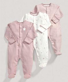 Girls Essentials Three Pack of Millie and Boris All in Ones - 3 For 2 Baby Basics - Mamas & Papas