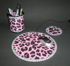 PINK CHEETAH & BLING Computer Desk Set  w/ by LaurieBCreations, $19.00