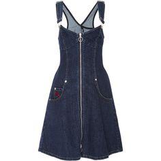 Adam Selman Denim Overall Dress (14.218.115 VND) ❤ liked on Polyvore featuring dresses, blue, blue denim dress, adam selman dress, blue dress, princess seam dress and denim dress