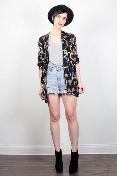 Vintage 80s Jacket Black Rainbow Jewel Gem Pearl Novelty Print Blazer Jacket Baroque Print 1980s Draped Blazer 1980s Jacket M Medium L Large by ShopTwitchVintage #vintage #etsy #80s #1980s #blazer #jacket #baroque