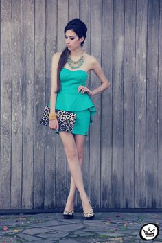 Mint aqua dress with print and statement necklace