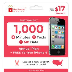Red Pocket 1 Year Prepaid Wireless Plan - FREE Verizon iPhone 4, no contract | Cell Phones & Accessories, Cell Phones & Smartphones | eBay!