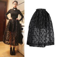 Free Shipping 2014 Fashion Hight Waist Sheer Organza Black Polka Dots Ball Gown Skirt Women's Mid-Calf Skirt 368
