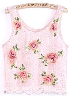 Pink Bead Sequined Floral Mesh Yoke Vest EUR€30.40