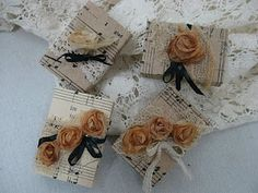 Treasures from the Heart: Tea Bag Roses on match boxes