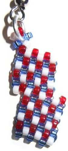 Red, White, and Blue Bead Diagonal Peyote Stitch Earrings | craftingmemories - Jewelry on ArtFire