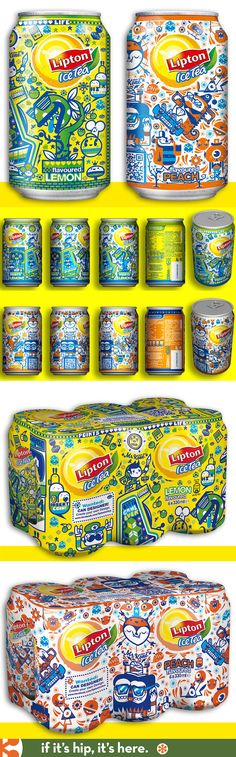 Lemon and Peach Lipton Ice Tea can designs from 2012 for Europe and Mexico by illustrator Mr. Kone