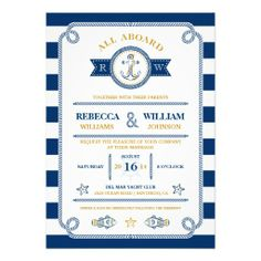 Nautical Stripes Wedding Invitation — All Aboard! Anchor, fisherman's rope, stripes, fish, captains wheel, and starfish complete this nautical themed invitation. Customize with your own text. Original Illustration by pj_design.