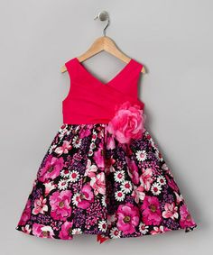 Another great find on #zulily! Fuchsia & Black Floral Surplice Dress - Girls by Chic Baby #zulilyfinds