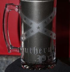 ETCHED DIXIE SOUTHERN PRIDE 28 OZ. GLASS BEER MUG , SOUTHERN FLAG