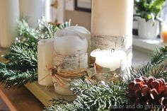How to make a Pottery Barn-inspired birch candle with cheap Ikea candles. Click to see more simple DIY Christmas decor ideas.