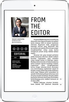 """I think this letter is very effective. It is effective how the """"from the editor"""" and the line under it are the same height as the image of the editor. The letter is done professionally for being on a mobile device. It is helpful how it has the information below the image such as social media. Although there isn't many colors used I think it is effective in conveying the theme of the magazine"""