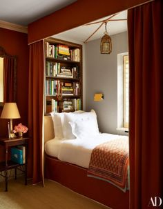 See Inside Nina Flohr's Glamorous Yet Cozy London Townhouse – In a guest room, bed and canopy designed by Veere Grenney Assoc. Flohr picked up the blanket in India. - See Inside Nina Flohr's Glamorous Yet Cozy London Townhouse - In a guest room, . Home Design, Home Interior Design, Interior Ideas, Design Ideas, Small Room Interior, Diy Design, London Townhouse, Canopy Design, Design Bedroom