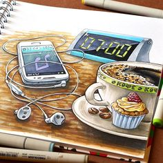 Работа 4/4 #марафон_активный_сентябрь от @lisa.krasnova Что помогает проснуться и заряжает энергией с утра? Хороший кофе и любимая музыка :) Two things help me to wake up in the morning: delicious coffee and my favourite music. #скетчмаркерами #finecolour #иллюстрация #иллюстрациямаркерами #иллюстратор #рисунокмаркером #рисунокмаркерами #скетчмарафон #чашкакофе #чашкакофе #наушники #гарнитура #кофе #утро #sketchmarkers #illustration #morning #cupofcoffee #coffee #drawingmarkers #markers
