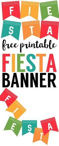 Fiesta Banner Printable. Cinco de Mayo decorations ideas. Happy Cinco de Mayo banner printable. Free printable Cinco de Mayo banner or Fiesta party banner.