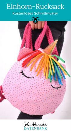Unicorn backpack - Nähen Do it yourself - Child Fashion Crochet Sock Pattern Free, Bag Pattern Free, Pouch Pattern, Crochet Patterns, Crochet Unicorn Blanket, Beginner Crochet Projects, Diy Accessoires, Diy Handbag, Simple Bags