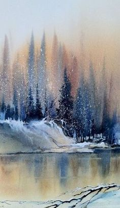 Winter forest on the lake painting. EASY-WATERCOLOR-PAINTING-IDEAS-FOR-BEGINNERS #LandscapingWatercolor