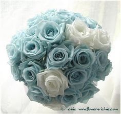 Tiffany blue and white rose bouquet (Bride bouquet) roses. (Plus dog tags) Tiffany Blue Flowers, Tiffany Blue Weddings, Tiffany Wedding, Blue Wedding Flowers, Tiffany Party, Tiffany Box, Bridal Flowers, Bouquet Azul, Blue Bouquet