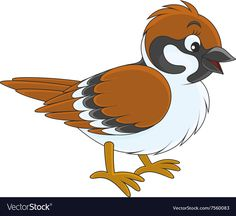 Sparrow vector image on VectorStock Cartoon Drawings Of Animals, Cartoon Birds, Bird Template, Kid Toy Storage, Baby Art, Rock Crafts, Clipart, Cute Drawings, Art Images