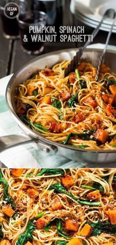This simple pumpkin, spinach and walnut spaghetti makes an ideal mid-week dinner. It's light, quick to prepare and tastes delicious. It's vegan and can be made