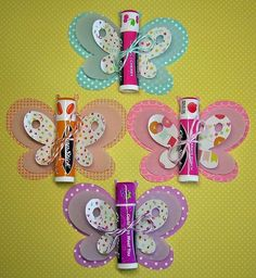Chapstick Butterflies! what a cute idea for a little girls party and many other occasions.