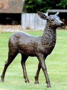 A majestic bronze deer garden statue made using the lost wax bronze casting process. This impressive life-like bronze doe is a quality outdoor ornament. See our wide collection of bronze animal statues and deer now. Deer Statues, Animal Statues, Garden Statues, Animal Garden Ornaments, Deer Garden, Stag Deer, Animal Decor, Large Animals, Horses