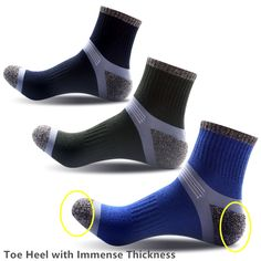 socks, compression socks, mens socks, compression socks running, cotton socks, black, mens sport socks, Comfortable, Hiking Socks, Basketball Socks - 3 Pairs/Pack Men's Foot Care Outdoor Hiking Socks Sport Socks Basketball Socks, Toe Heel with Immense Thickness (3 Color/Pack )