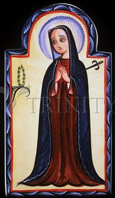 "Nuestra Señora de los Dolores | Catholic Christian Religious Art - Retablos by Br. Arturo Olivas, SFO - From your Trinity Stores crew, ""Queen of Heaven pray for us!"""