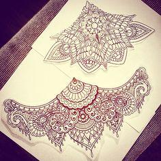 Two sternum/underbust designs that are available.#sacredgeometry #mendi #paisley #mandala