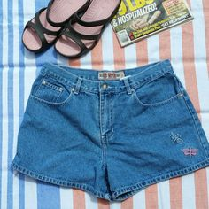 Vintage,  High Waist, Butterfly JEAN Shorts Second Generation,  Customer Copy,  Size 13.  100%cotton Second Generation  Shorts Jean Shorts