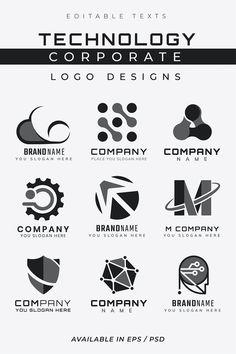 Simple Corporate technology vector futuristic logo set | premium image by rawpixel.com / Kappy Kappy Corporate Logo Design, Business Logo Design, Corporate Business, Logo Design Services, Corporate Identity, Professional Logo, Technology Logo, Icon Set, Slogan
