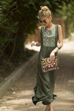 f8e12a0881 Sage Green Maxi Dress Long Kaftan Dress Tribal Ethnic Long Kaftan Kleid