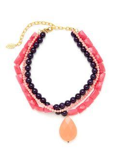 David Aubrey Gold & Dyed Jade Triple Row Pendant Necklace