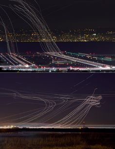 THIS IS AWESOME! Delayed Exposure Airport shot. Awesome long exposure photographs of airport traffic by Terence Chang from San Francisco (USA).