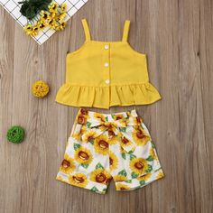 Baby / Toddler Summer Solid Strappy Top and Sunflower Print Belted Shorts Set Little Girl Outfits, Cute Girl Outfits, Cute Outfits For Kids, Short Outfits, Short Niña, Kids Frocks, Jumpsuit Outfit, Cute Crop Tops, Matching Family Outfits