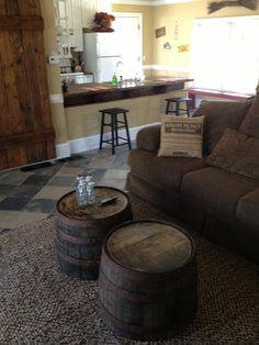 Jack Daniels Barrels From HD Used As Coffee Table.