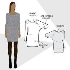 DR305 Robe chauve-souris - Patron de couture PDF - Patrons de couture chez Makerist