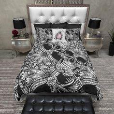 Tribal Black and White Sugar Skull Duvet Bedding Sets