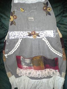 APRON~ Custom Made~ this one is made from a pair of Bib overalls & it's rather Girly! by HippiesSweetgrass on Etsy
