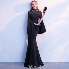 Elegant Black Evening Dresses 2018 Trumpet / Mermaid Rhinestone High Neck Long Sleeve Floor-Length / Long Formal Dresses