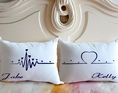 Heart Beats Pillow Case,Personalized Bedding Pillow,Gift for Couple,Custom Couple Name Pillow Case,W Bed Cushions, Throw Pillows, Cushion Covers, Pillow Covers, Floral Bedding, Boho Bedding, Gray Bedding, Neutral Bedding, Bedding Decor