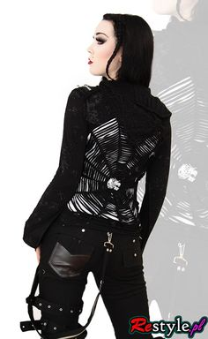 Y-235 Punk Rave Military hoodie with a spiderweb pattern   CLOTHING \ Hoodies   Restyle.pl
