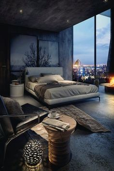 Bedroom in grey tones featuring concrete wall- and floor effects, fireplace and full-length windows.