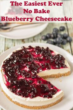 The easiest ever no bake blueberry cheesecake is the only blueberry cheesecake you will ever need. This is as quick and easy as cheesecake recipes get. No matter what the season is this cheesecake is perfect for all occasions! #neilshealthymeals #recipe #dessert #cheesecake #nobake #nobakecheesecake #blueberry #blueberrycheesecake Low Fat Cheesecake, No Bake Blueberry Cheesecake, Cheesecake Desserts, Cookie Desserts, No Bake Desserts, Easy Desserts, Delicious Desserts, Dessert Recipes, Pudding Recipes