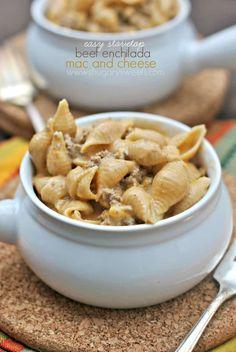 Easy, Stovetop Beef Enchilada Macaroni and Cheese recipe!