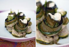 Eggplant and zucchini rolls with sunflower seed pesto and bocconcini