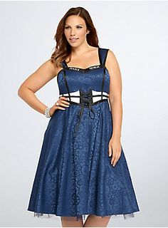 Inspired by our fave way to travel through time and space - the TARDIS - this silky navy swing style features a subtle gear pattern (like the opening theme), a lace-up front and bust boning modeled after the TARDIS windows, and a black trim sweetheart neckline printed with POLICE PUBLIC CALL BOX. Like the TARDIS, the style is bigger on the inside; the dress is lined with a kick-worthy tulle underlay.