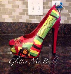 REGGAE Themed Bob Marley heels by Glitter Me Badd #bobmarley